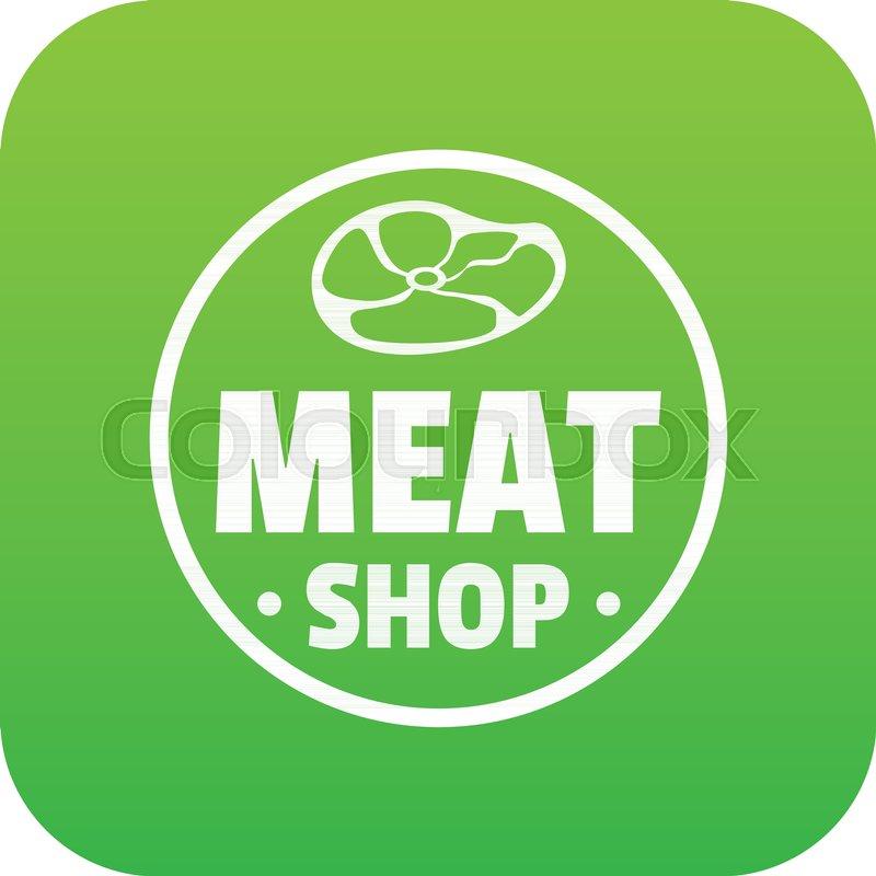 Modern Meat Shop Icon Green Vector Stock Vector Colourbox