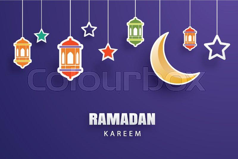 Ramadan kareem greeting card moon and stars traditional lanterns ramadan kareem greeting card moon and stars traditional lanterns background eid mubarak banner illustration design use for islamic flyer poster m4hsunfo