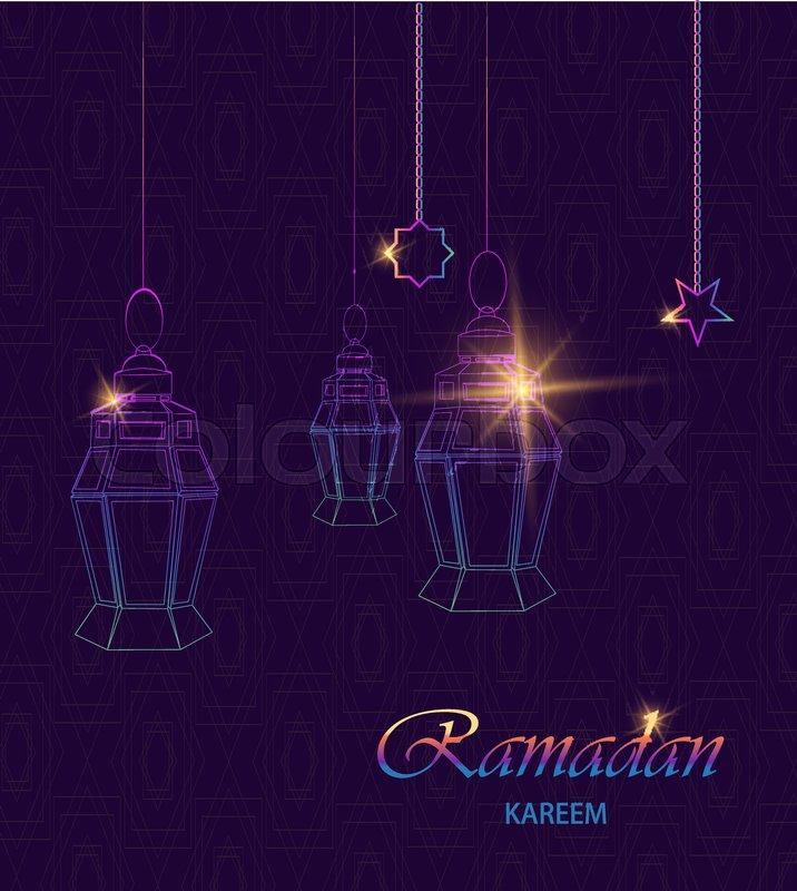 Ramadan kareem greeting card with hanging traditional arabic rainbow ramadan kareem greeting card with hanging traditional arabic rainbow lanterns and stars polygonal art on dark purple background usable for eid mubarak m4hsunfo