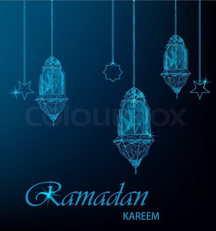 Ramadan kareem greeting card with hanging traditional arabic ramadan kareem greeting card with hanging traditional arabic lanterns and stars polygonal art on blue background usable for eid mubarak m4hsunfo
