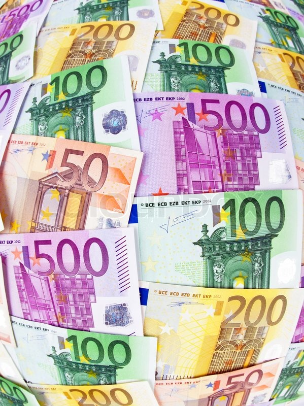 Many Euro Banknotes Of The European Union Photo Symbol For Wealth