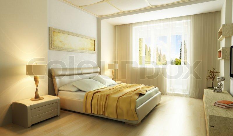 modern style bedroom interior 3d render stock photo colourbox