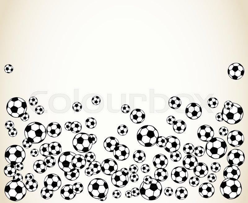 Soccer, football scattered balls blank frame. Background vector ...