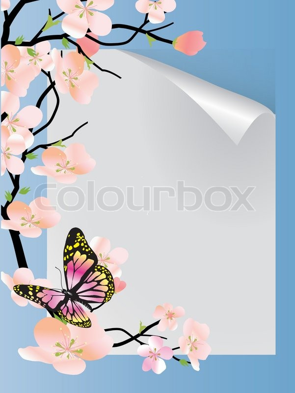 Vector frame with beautiful flowers and butterfly | Stock Vector ...