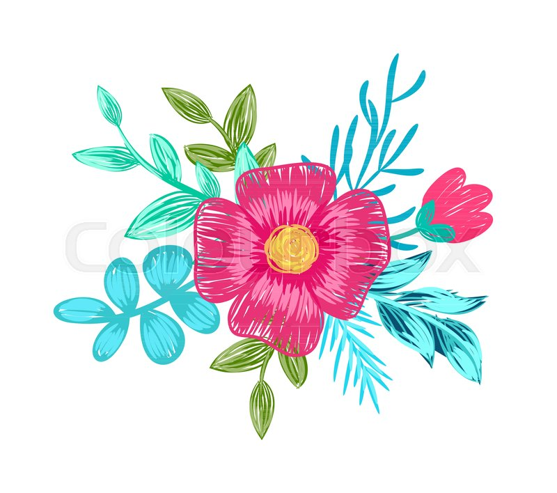 Pink flower in blossom with yellow center branches and leaves on pink flower in blossom with yellow center branches and leaves on them composition on vector illustration isolated on white background stock vector mightylinksfo
