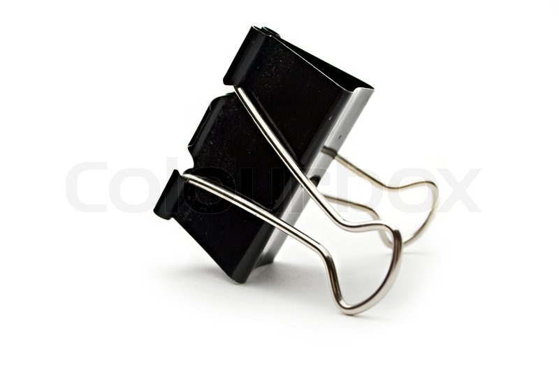 black paper clip on white stock photo colourbox