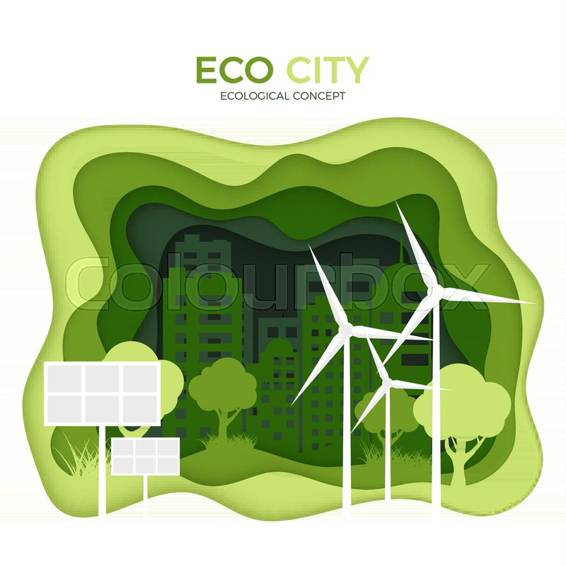 Eco City Ecological Concept Green Paper Cut Banner Template World