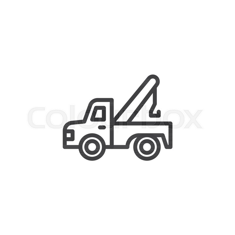 Tow Truck Outline Icon Linear Style Sign For Mobile Concept And Web