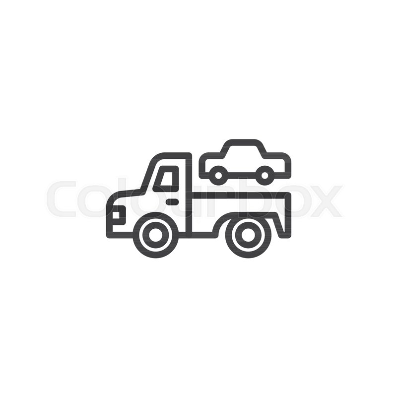 Towing Truck Outline Icon Linear Style Sign For Mobile Concept And