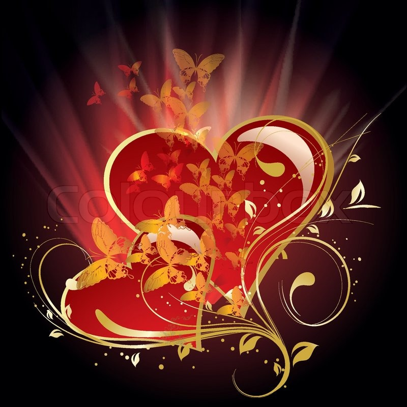 beautiful vector illustration with glowing hearts stock