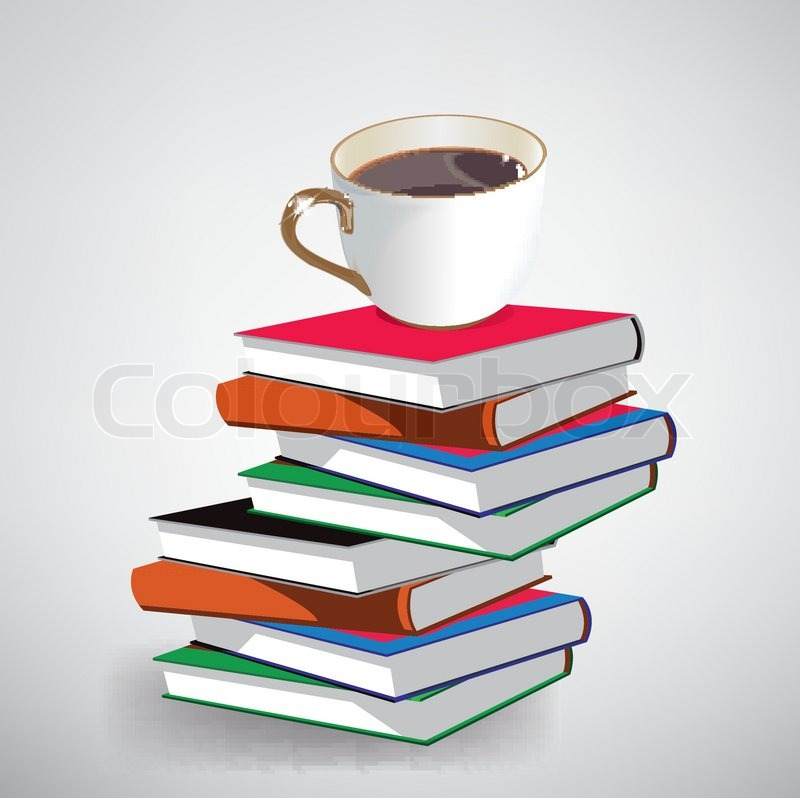 Vector coffee and books | Stock Vector | Colourbox