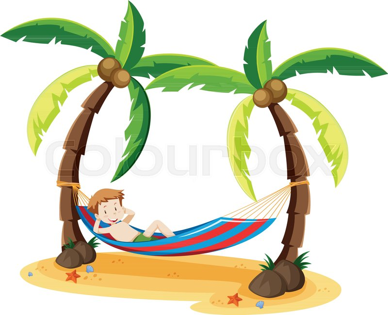 a boy chilling under the coconut tree illustration stock vector