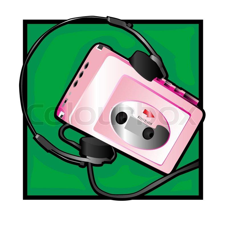 Retro Walkman Clip Art With Headphones