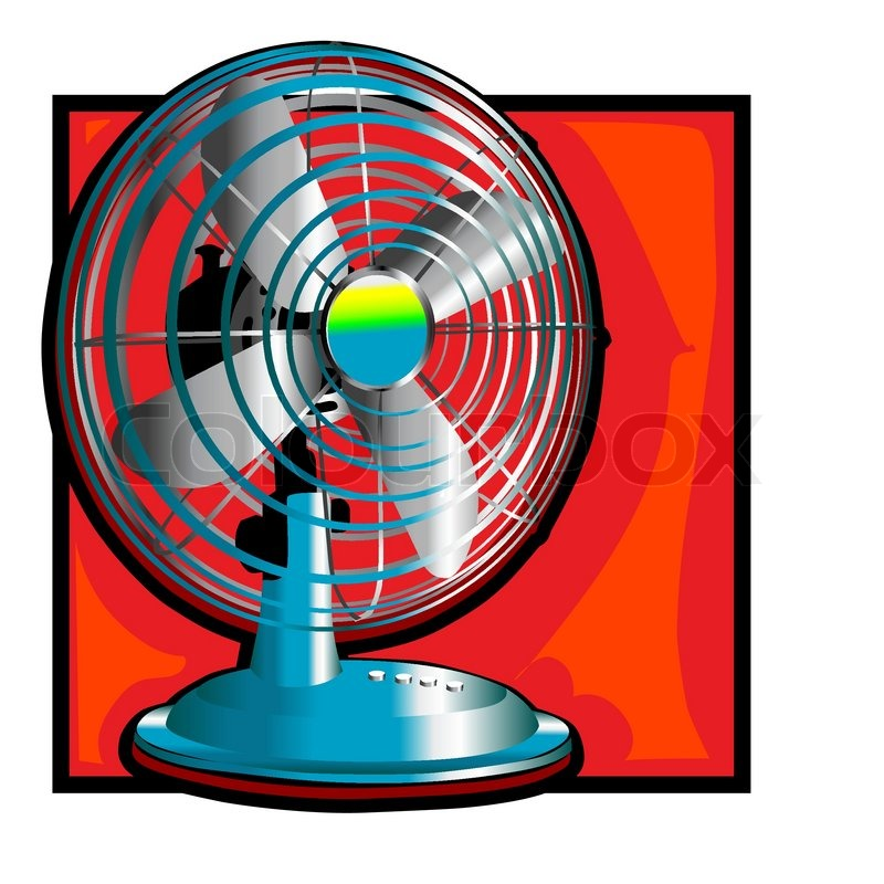 Cooling Fan Clip Art : Retro wind fan clip art with a short pedestal stock