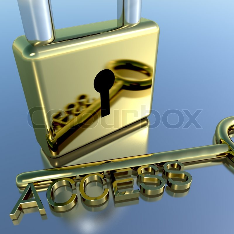 Padlock With Access Key Showing Permission Security And Login ...