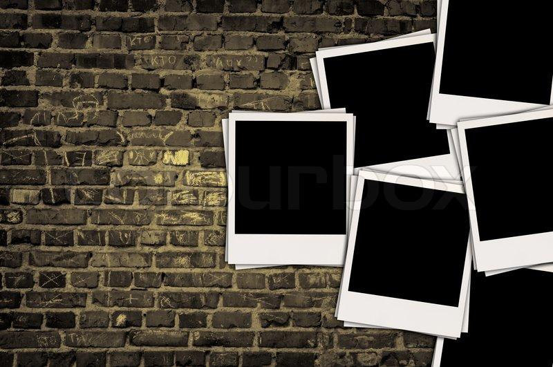 Blank Brick Wall On Grungy Brick Wall