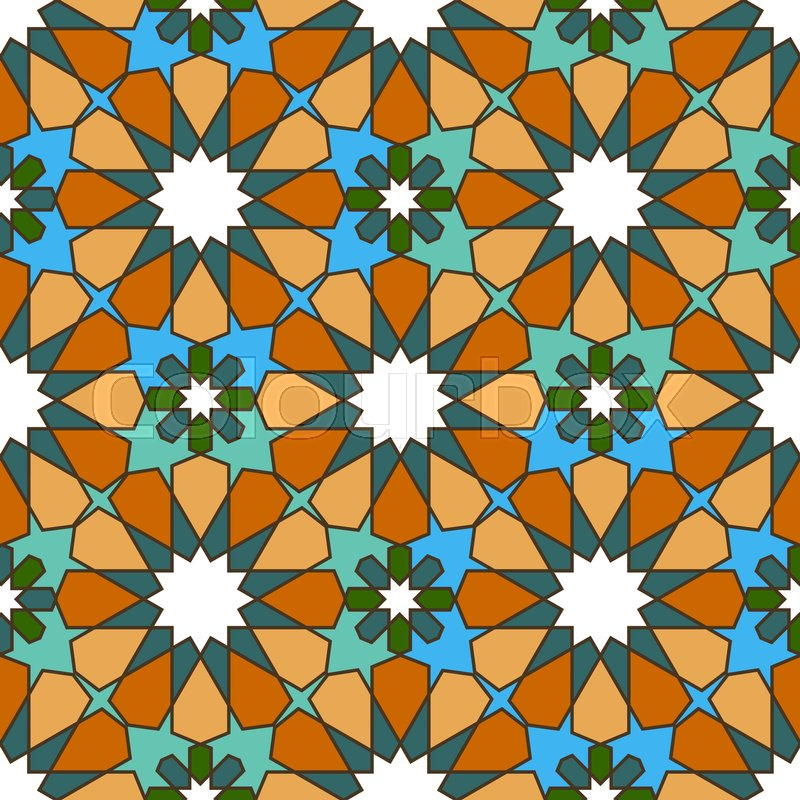 Seamless Bright Multi Colored Geometric Pattern Based On Moroccan