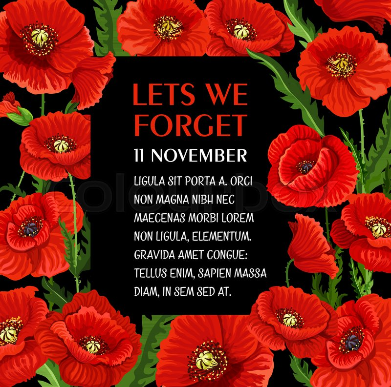 Remembrance day poster for lest we forget 11 november poppy flower remembrance day poster for lest we forget 11 november poppy flower greeting card vector design for commonwealth armistice commemoration and freedom mightylinksfo