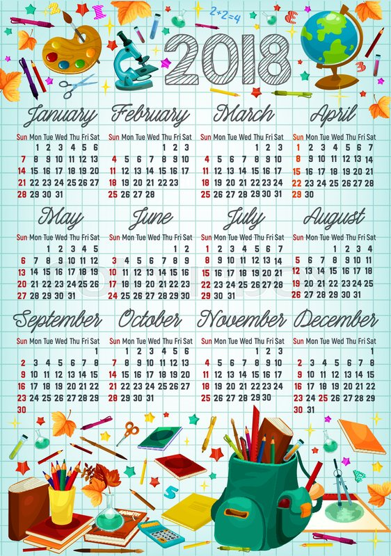 Back To School Calendar Template On Squared Paper With School