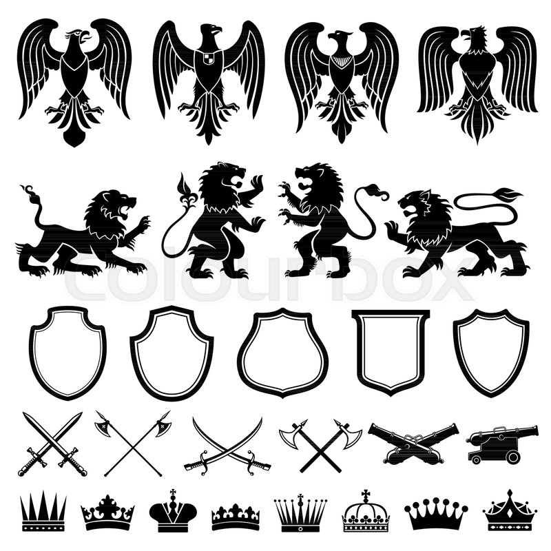 Heraldic Symbols Vector Set Heraldic Elements Lions Eagles Shield