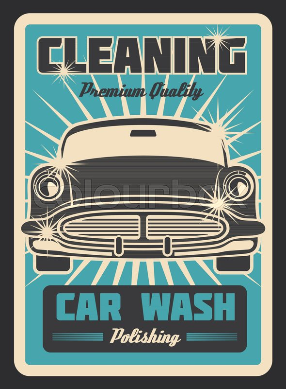 Vector poster with vintage car wash     | Stock vector