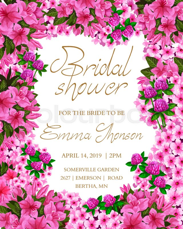 16cc3a3dc48 Bridal Shower invitation with pink ...