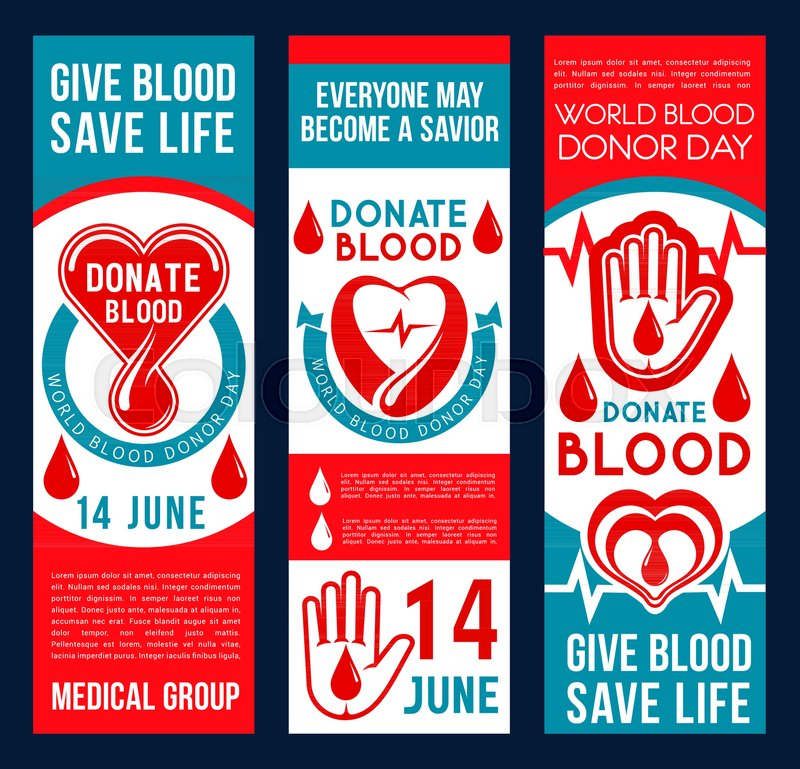 Donate Blood Vector Banners Drop Of