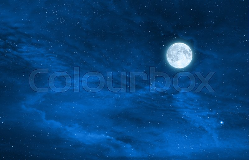 Starry night sky design with the full     | Stock image | Colourbox
