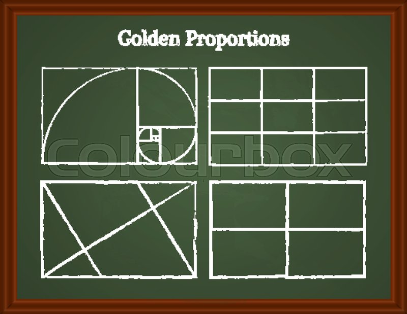 set of composition proportions on a school board chalk guidelines