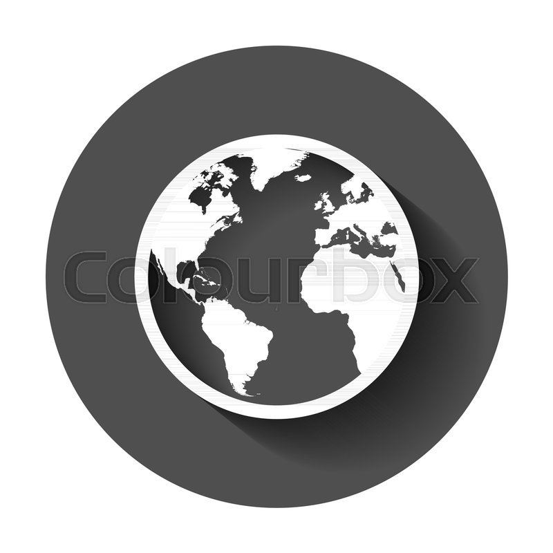 Globe world map vector icon round earth flat vector illustration globe world map vector icon round earth flat vector illustration planet business concept pictogram with long shadow stock vector colourbox gumiabroncs Image collections