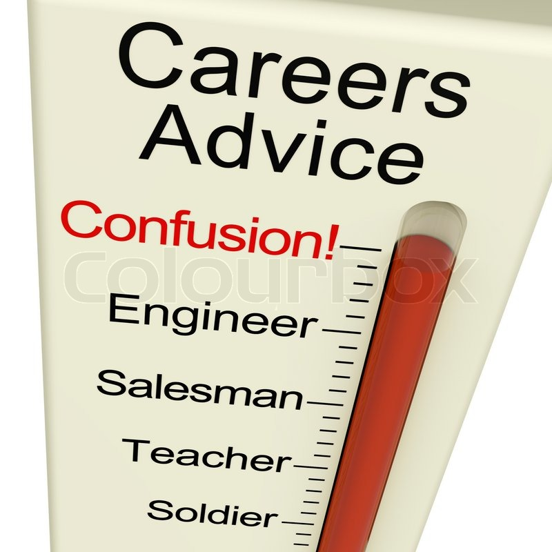 Careers Advice Monitor Confusion Shows Employment Guidance And Decisions, stock photo