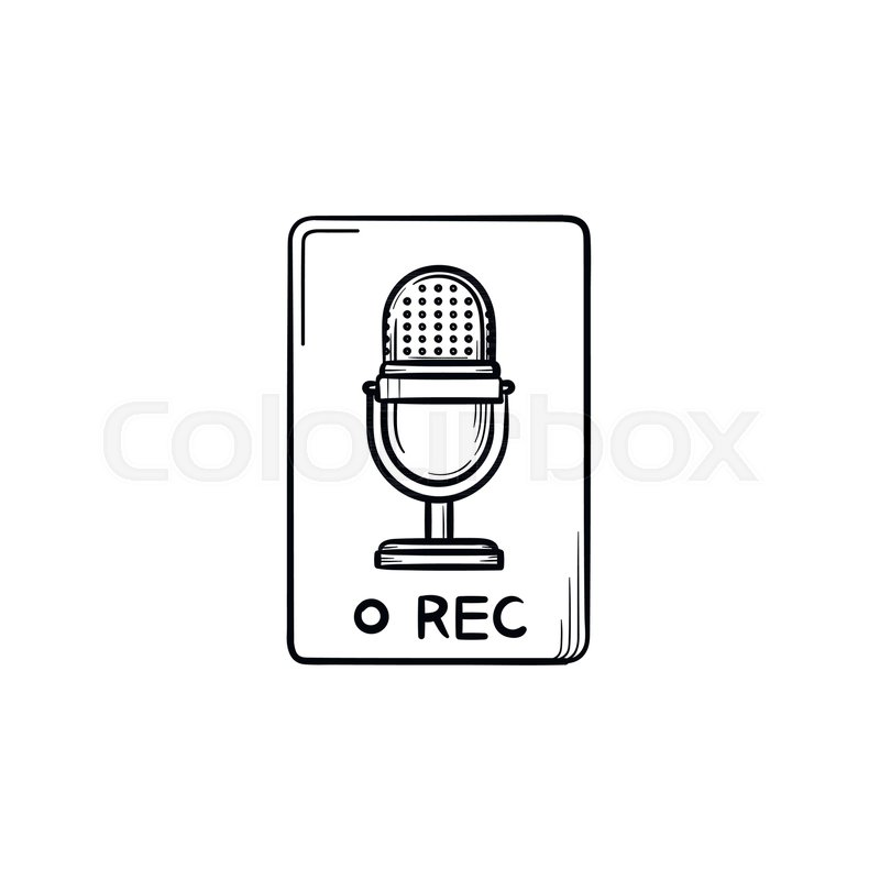 record button with microphone symbol hand drawn outline