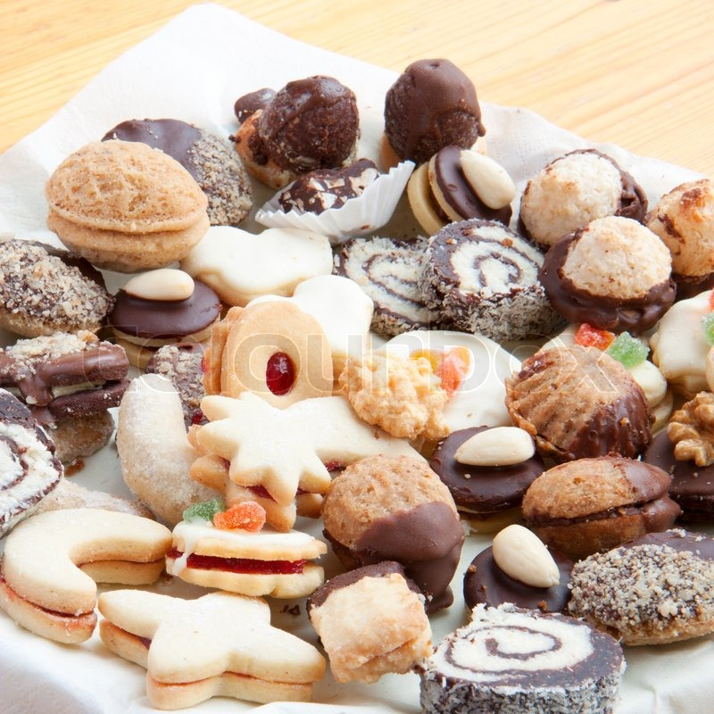Assorted Christmas Cookies On The Table Stock Photo