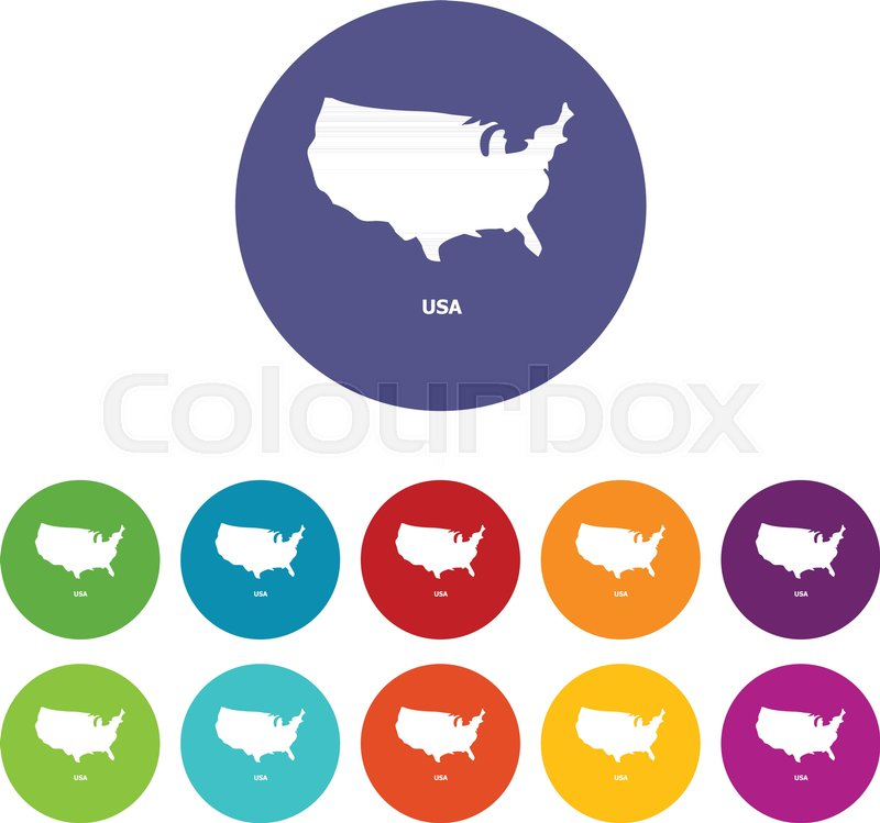 Usa Map Icon Simple Illustration Of Stock Vector Colourbox
