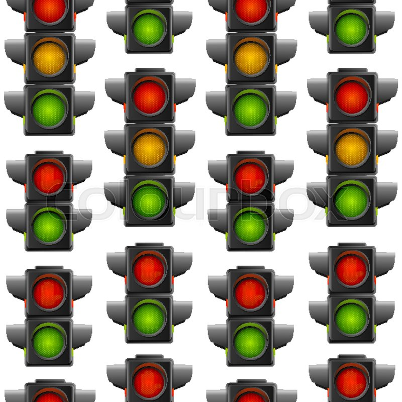 Realistic Detailed 3d Road Traffic Light Seamless Pattern Background