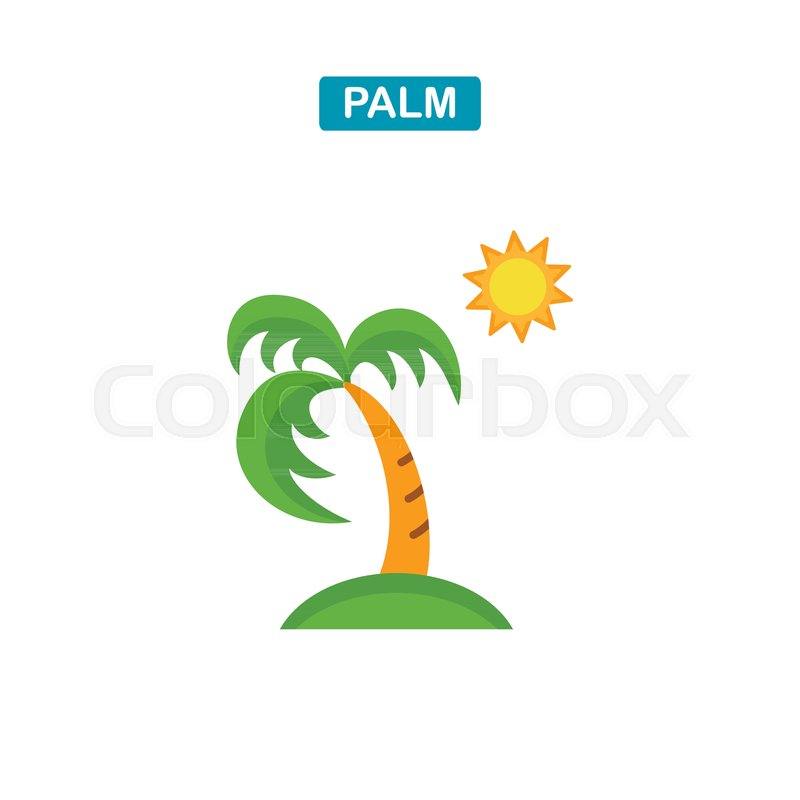 Palm Tree And Sun Icon Coconut Palm Tree Sign Travel Or Vacation
