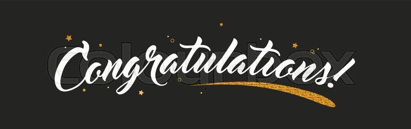 congrats congratulations banner with glitter decoration