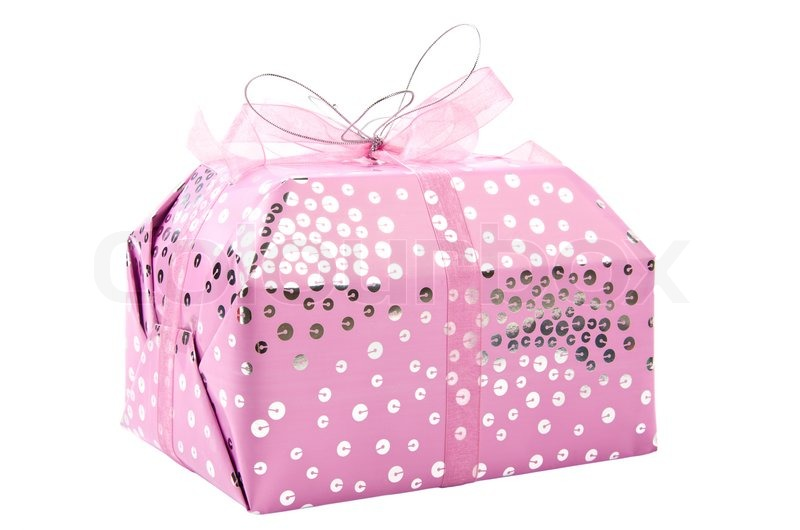 Birthday Gift Civered With Pink Wrap Stock Photo Colourbox