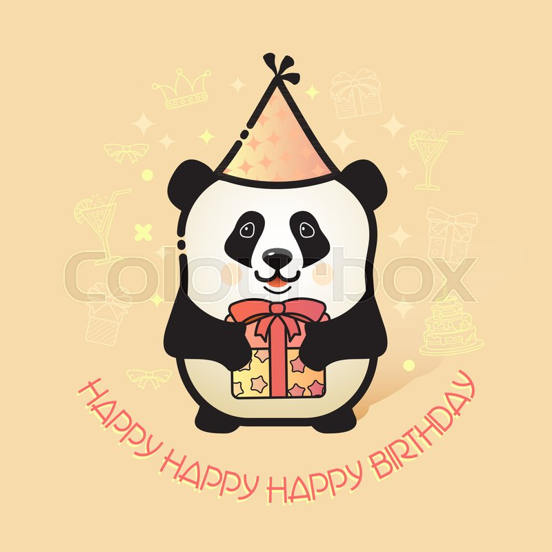Happy Birthday Card Funny Panda In Party Hat Holds A Gift Vector