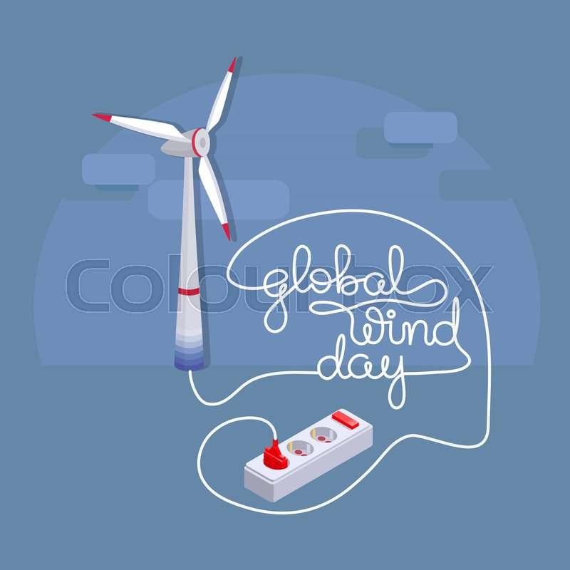 Global Wind Day Card Lettering With Cartoon Wind Turbine And Cord