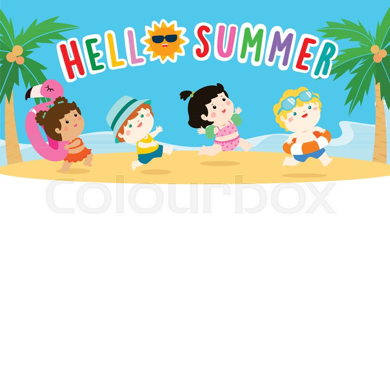 hello summer multicultural cute kids in swimsuit template vector