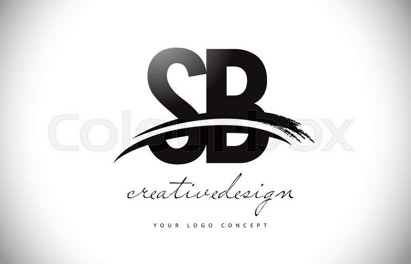 sb s b letter logo design with swoosh and black brush stroke modern creative brush stroke letters vector logo stock vector colourbox
