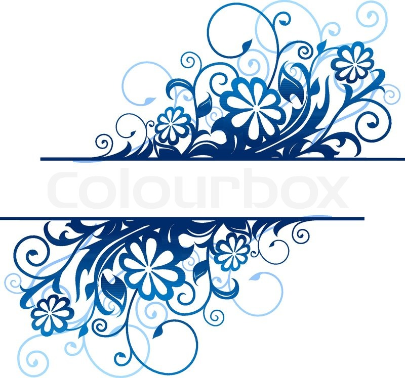 Blue Floral Borders With Flowers And Blossoms Vector 3291900 on Blue Border Corners Clip Art