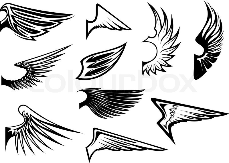 Stock vector of 'Set of bird wings for heraldry or emblem design'