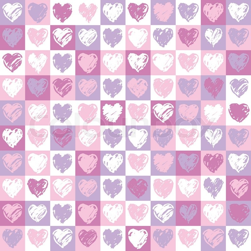 A Square Background With Hearts Pattern In Pink And Vinous Colours