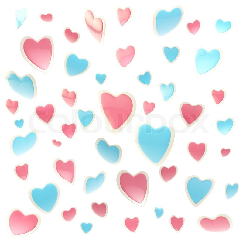 background made of colorful pink and blue glossy hearts