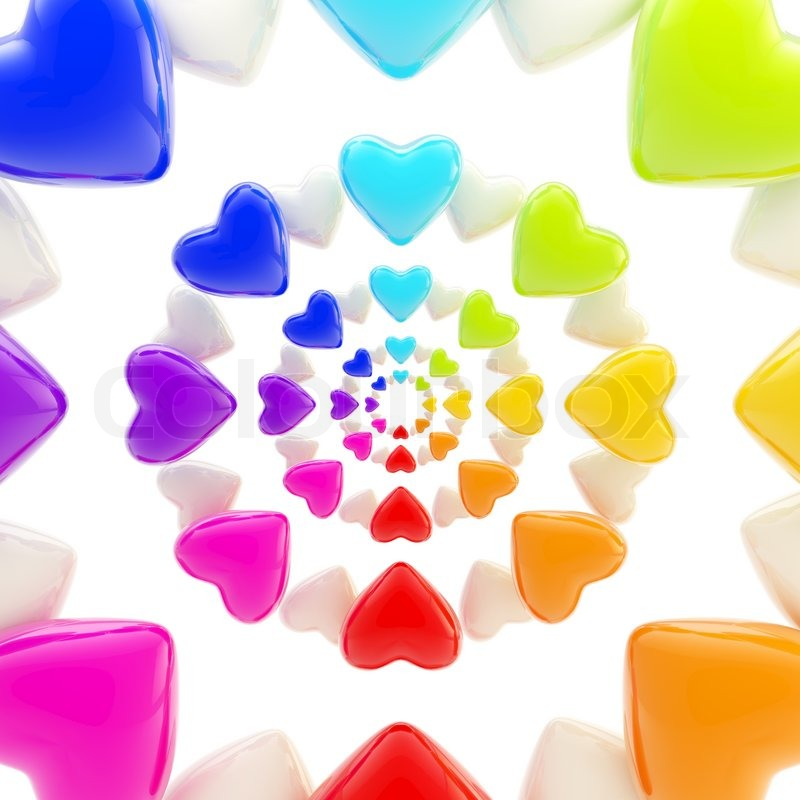 Abstract Rainbow Background Made Of Colorful Glossy Hearts