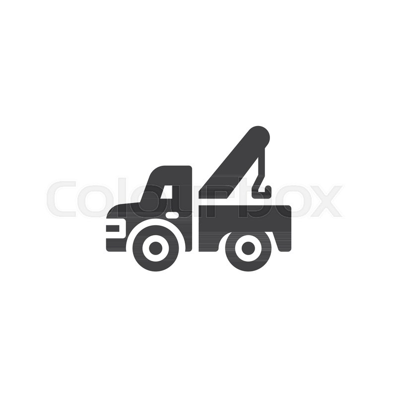 Tow Truck Vector Icon Filled Flat Sign For Mobile Concept And Web