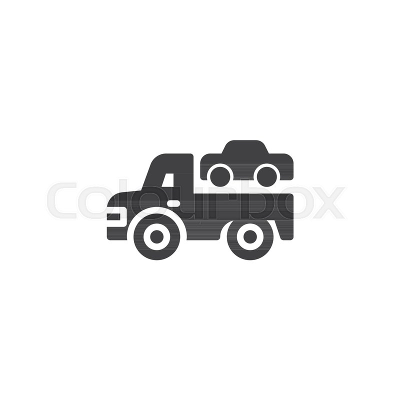Towing Truck Vector Icon Filled Flat Sign For Mobile Concept And