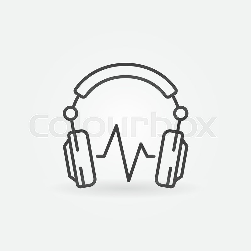 Dj Headphones With Sound Wave Vector Concept Minimal Icon Or Symbol